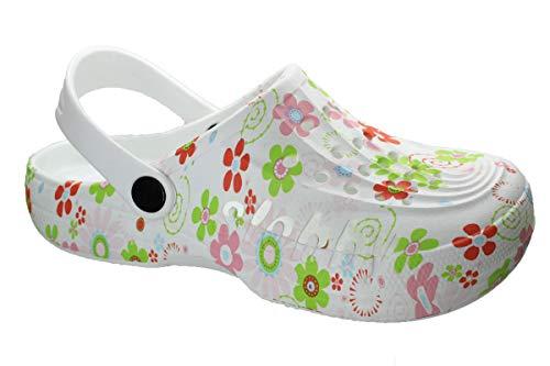 Slobbys Damen Eva Clogs   Hausschuhe Gartenclogs   Freizeit Sommer Schuhe Gr.36-42 (37, 00528 Bunt)