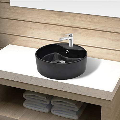 Festnight Keramik Waschbecken Rund ? 465 mm | Aufsatzwaschbecken mit Hahnloch | Handwaschbecken Waschschale Schwarz 465 x 155 mm (? x H)
