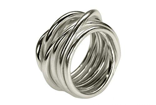 SILBERMOOS XL XXL Ringe in großen Größen Damenring Herrenring Partner Ring Ehering Wickelring Größe 64, 66, 68, 70 Sterling Silber 925, Größe:68 (21.6)