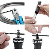 BODYMATE Corde à Sauter avec poignées antidérapantes incluant 2 poids amovibles et 2 cordes en acier réglables avec protection anti-usure pour le Crossfit, la Boxe, le Core & Functional Training