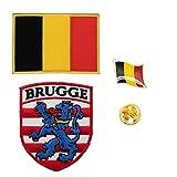 A-ONE 3 Stück – Belgien Brugge Flagge Schild + Belgische Flagge Tasche Patch + Belgische Reversnadel Brugge bestickte Aufnäher Offizielles Revers-Anstecker
