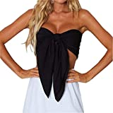 Women's Sexy Summer Solid Candy Color Tube Top Crop Tops (Black)