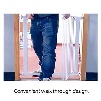 LNDDB Porte très Large et Haute pour bébé avec Porte pour Animal Domestique, Se fixant à la barrière de Protection de Porte de Rampe d'escalier de Rampe 77-126CM, 91cm de Hauteur (Taille: 119-126cm)