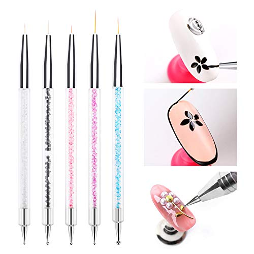 5pcs Nail Art Liner Brushes Nail Dotting Painting Drawing Pens
