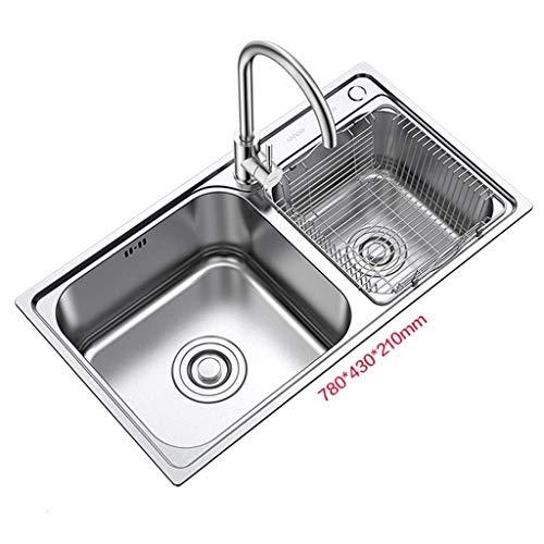 Pkfinrd Kitchen Sink 304 roestvrij staal dubbele grove vaas grote ruimte met kraan rechthoek geborsteld 11,22
