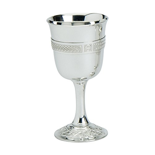 Edwin Blyde & Co 26600 Traditional Chalice Shaped Goblet Wire on a Plain Stem and Ornate Celtic Base, 6 inch, Pewter, 15 x 8 x 7 cm