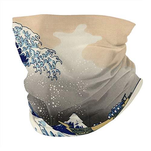 Antokos estilo japonés onda marina unisex reutilizable ajustable cara cubierta bufanda protección UV cuello pasamontañas 3d impreso variedad cabeza bufanda
