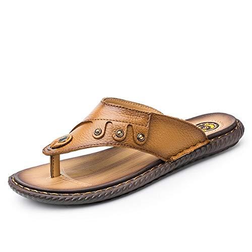JiuRui Sandalias Casuales, Chanclas Casuales Antideslizantes for Hombres, Zapatos de Secado rápido con Punta Redonda Plana al Aire Libre, Zapatillas de Playa con Tachuelas de Cuero Genuino (Ropa)