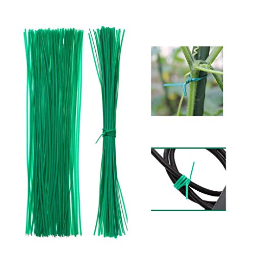 100pcs garden twist plant ties support wire for climbing plants trees moss pole bamboo canes trellis tomato plant cable ties string wire twisties plastic green outdoor indoor clips 30cm/12inches