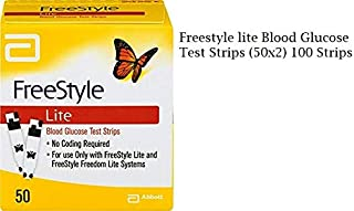 FreeStyle Lite  Blood Glucose Test Strips 100 Count (Pack of 2 - 50 each)
