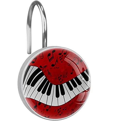 anello appendiabiti per tenda da doccia gancio antiruggine in acciaio inossidabile (set di 12), Sfondo di pianoforte e spartito