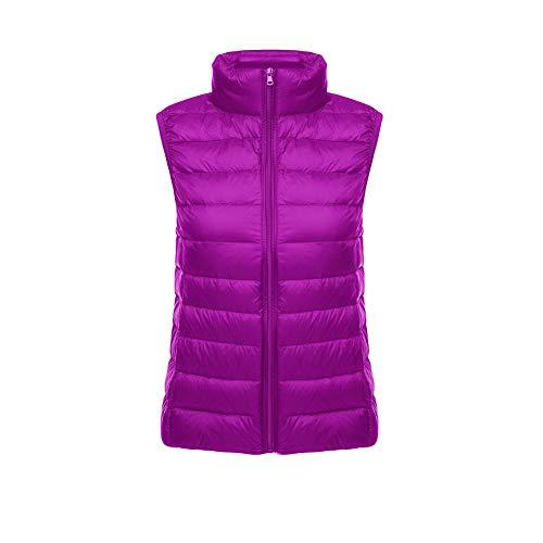 CHIYEEE Packbar Damen Daunenweste Jacke Gilet Puffer Coat Ultraleichter Zip Up Puffer Coat Pufferjacke Violett L