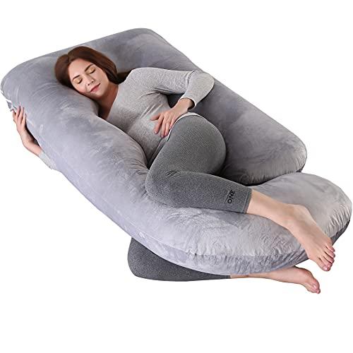 PANATA Almohada Embarazada, Sleep Confort Almohada Cojin Lactancia Almohada Abrazar Dormir con Funda Extraíble y Lavable para Dormir y Alimentar(Gris Claro, Terciopelo)