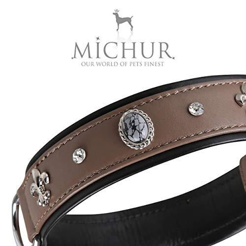 MICHUR Rodrigo Hundehalsband Leder, Lederhalsband Hund, Halsband, Taupe,Grau-schwarz, Leder, mit Lilien,Strasssteinen und grau marmorierten Steinen, in verschiedenen Größen erhältlich
