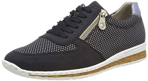 Rieker N5121-14, Zapatos de Cordones Derby para Mujer, Blau (Pazifik/Silber/Sky 14), 36 EU