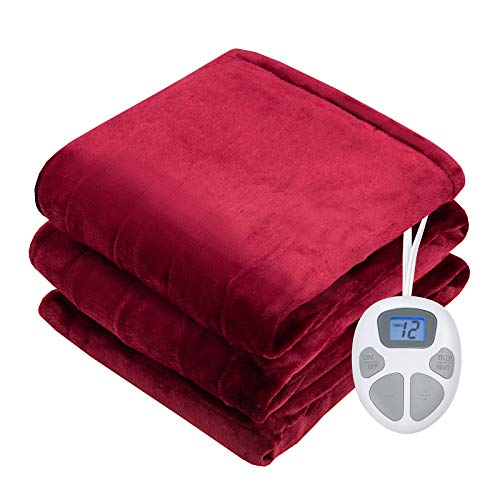 Giantex Electric Heated Blanket, 62' x 84' Flannel Electric Blanket Throws, 10 Heating Levels, 8 Hours Auto Off, Fast Heating ETL Certification & Machine Washable Design (Red)