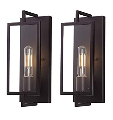 [2 Pack] Cloudy Bay Vintage Wall Sconce Set of Two,Industrial Wall Lighting Fixtures,Dark Bronze Finish Suitable for Bedroom Living Room Hallway,2PCS E26 Base T10 Bulb Included