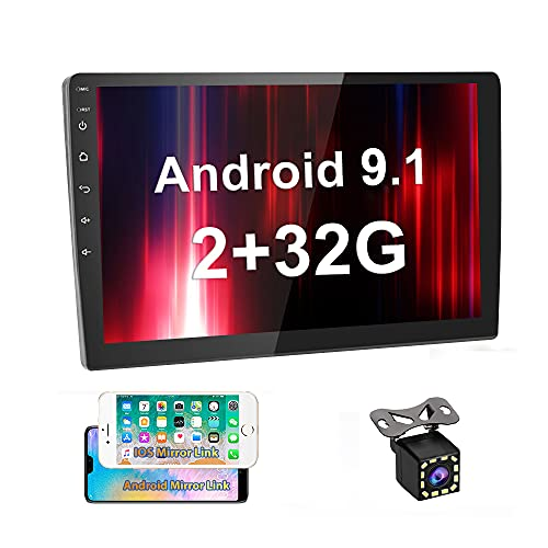 UNITOPSCI 2GB 32GB Android Car Stereo Double Din in Dash GPS Navigation 10.1 Inch 2.5D Touch Screen Bluetooth Car Radio WiFi FM Support Mirror Link for Android/iOS Dual USB + Backup Camera