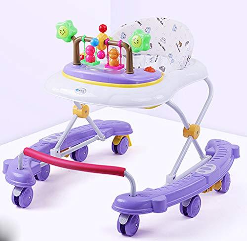 CJY-Cushion Verstellbare Baby Walker für Babys, Baby Walker mit Sonnenschirm, Universal Wheeled Walker, Anti-Rollover Folding Walker für Mädchen Jungen 6-18 Monate Kleinkind,B