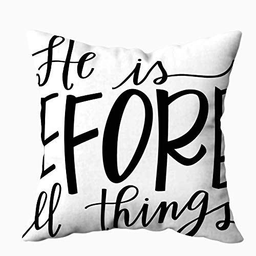 N\A Sofa Pillow Cases, Square Throw Pillowcase Covers Christmas Worry Ends When Faith Begins Bible Verse Lettered Modern Calligraphy Christian Both Sides Farmhouse Decor Cushion
