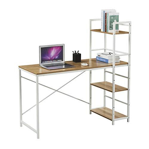 SVITA Combo2 Computertisch Eiche-Optik weiße Metall-Beine mit Regal Schreibtisch Bürotisch Arbeitstisch PC Tisch