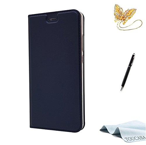 TOUCASA Huawei P10 Handyhülle,Huawei P10 Hülle, Brieftasche flip PU Leder Kartenfächer Versteckte Magnetische 0.2cm Super dünn 33g Ultraleicht 360 stoßfest mit Lebenszeitgarantie für Huawei P10(Blau)