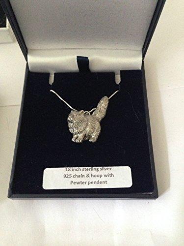 Emblema de peltre inglés PP-C00 de gato persa en un collar de plata de ley 925 de 45,7 cm