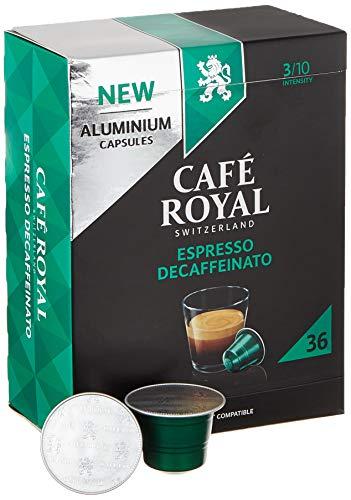 Café Royal 36 Espresso Decaffeinato Nespresso®* kompatible Kapseln aus Aluminium - Intensität 3/10 - Großpackung 36 Kaffeekapseln - UTZ-zertifiziert - Kompatibel mit Nespresso®* Kaffeemaschinen