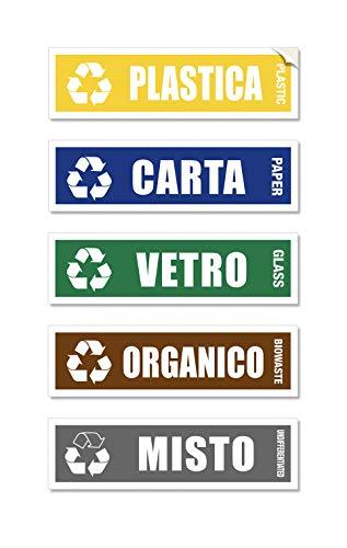 Readyprint 5 Adesivi per Raccolta Differenziata - Targhette Impermeabili in PVC, per secchi, pattumiera, riciclo rifiuti, Full Color Mis. 15 x 4 cm - 5 pz.