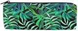 HJIUY Mäppchen Bright Green Leaves Pencil Case Big Capacity Storage Bag Holder Desk Pen Pencil Marker Stationery Organizer Pencil Pouch with Zipper for School & Office - 3x8 Inches