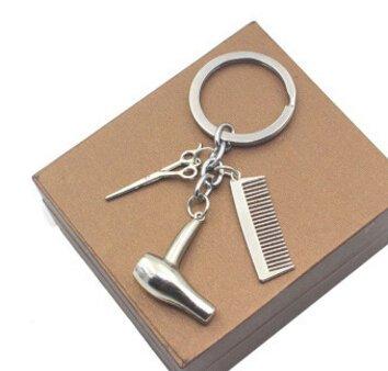 niumanery Stylist Haar Droger/Schaar/Kam Dangle Hanger Sleutelhanger Zilver Haar Dressoir Cosmetologist Sleutelhanger Sieraden Gift Goud
