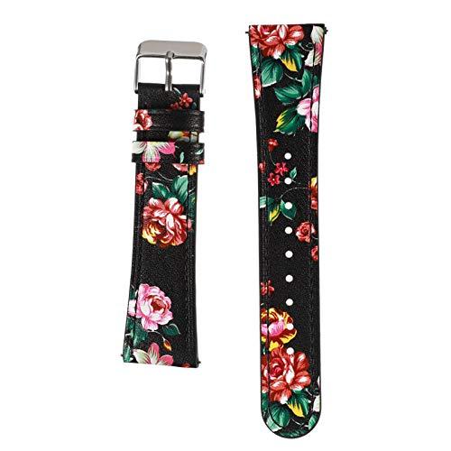 UKCOCO Bandas de Reloj de Cuero Galaxy Liberación Rápida Correa de Reloj Floral Hebilla de Metal Reemplazo de Pulsera Compatible para Samsung Galaxy SM- R810 22MM Rojo