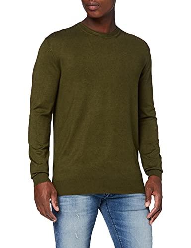 Scotch & Soda Herren Sweatshirt mit Rundhalsausschnitt aus ECOVERO-Mischung Pullover, 0813 Military Melange, S