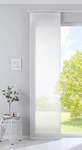 Gardinenbox Schiebegardine Nizza Baumwoll-Voile Halbvoile Transparente Flächenvorhang con Paneelwagen y Beschwerungsstange, 100% poliéster, Crema, HxB 254 x 60 cm