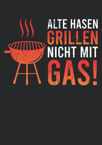 Notizbuch A5 kariert mit Softcover Design: Holzkohle Grill Anti Gasgrill Geschenk Männer Witz Spruch: 120 karierte DIN A5 Seiten