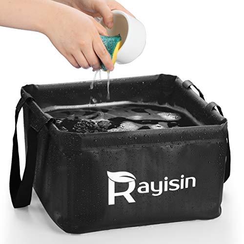 Rayisin Outdoor Faltschüssel 15L, Faltbare Camping Waschschüssel aus robustem Planen Gewebe, Platzsparende Spülschüssel und Spülwanne, Faltbare Waschschüssel für...