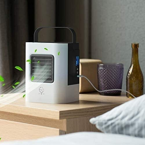 Portable Mini Air Conditioner, AC-01S verbeterde versie 2W IDI Portable Energy Efficient verdampingskoeling mini airconditioning Fan Air-cooler Purifier met 3 Speed Modes LED display Handle sudaijin