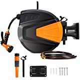 Ayleid Retractable Garden Hose Reel,3/8 in x 66 ft Wall Mounted Hose Reel, with 9- Function Sprayer Nozzle, Any Length Lock/Slow Return System/Wall Mounted/180°Swivel Bracket (Black)