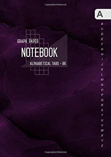Graph Paper Notebook Alphabetical Tabs B6: Small Journal Organizer with A-Z Index Sections | 1/5 Inch Squares - 5x5 Quad Ruled | Marble Purple Black Design