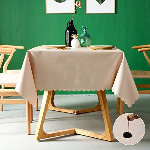 Pahajim Mantel de PVC impermeable Cuadrado de tela de aceite Mantel de tela de mesa limpiable Cubierta de mesa para uso exterior e interior (Beige, Cuadrado, 55'x55')