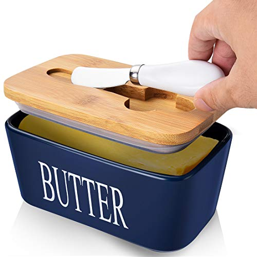 Large Porcelain Butter Dish with Lid, Butter Container with Knife Holds 2 Sticks of Butter with Double Silicone Seals deign, Ceramic Butter Dish with Covers Perfect for East West Coast Butter,Blue