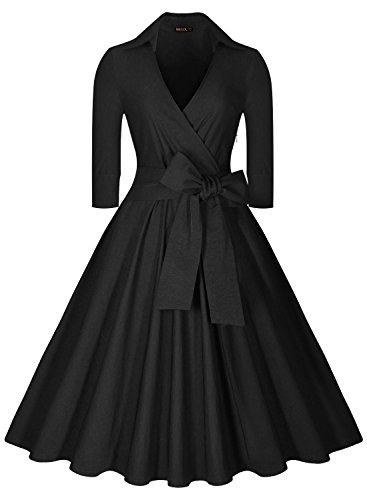 Miusol Women's Deep-V Neck Half Sleeve Bow Belt Vintage Casual Swing Dress, X-Large, Black