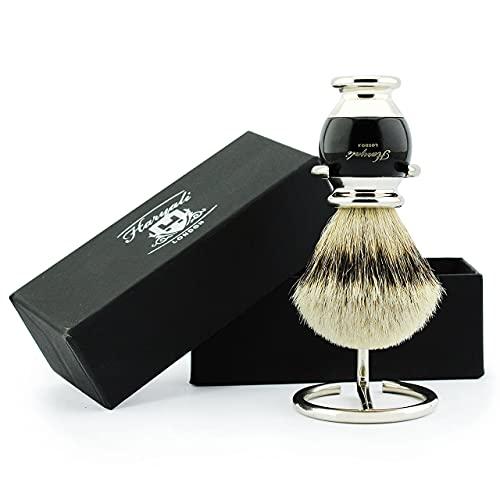 Haryali London Pure Silver Tip Badger Hair Shaving Brush with Brush Stand/Holder