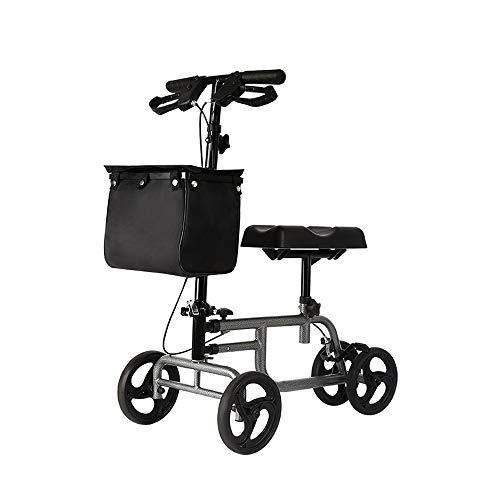 CHenXy Knie Scooter Walker drückbaren Einzelsitz mit Rädern for Gebrochenes Bein, Fuß-Verletzung, höhenverstellbar, Bremsanlage und Korb, schwarz medizinische Walker (Color : Black)