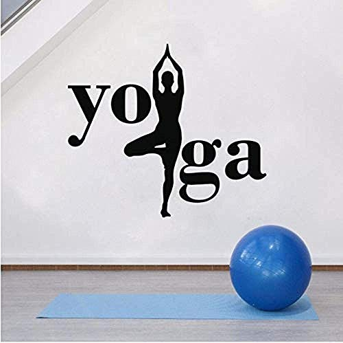 Wandaufkleber Yoga Wandbild Yoga Hindu Spirituelle Wandtattoos Abnehmbares Vinyl Für Wohnkultur Yoga Haltungskunst 65X57Cm