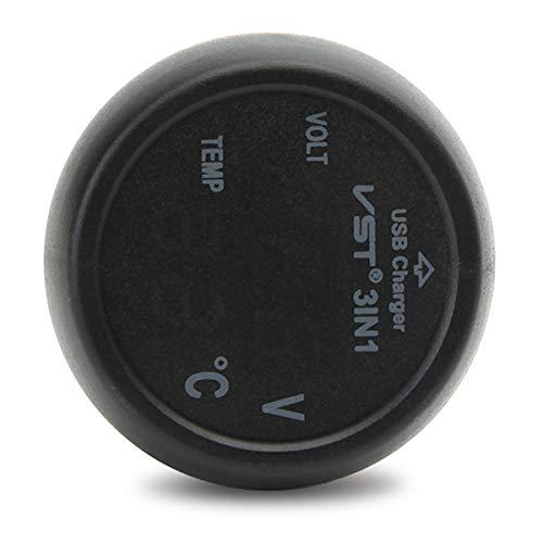 YONGYAO Cargador USB de Coche Volt Meterr Termómetro