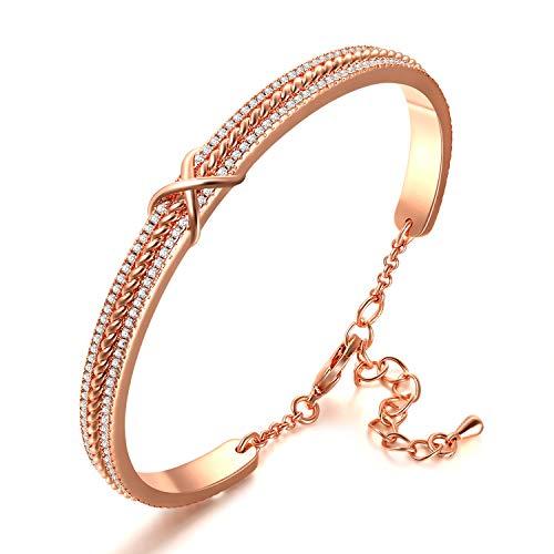 Bracciale Donna Infinito, Placcato in Oro Rosa, Diamante Cubico 5A,Regalo Braccialetto per Mamma Moglie Fidanzata san valentino bracciale