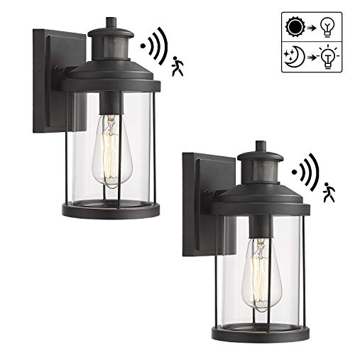 Zeyu Outdoor Wall Sconce with Motion Sensor, 2 Pack Exterior Wall Light Fixture Dusk to Dawn for Porch Doorway, Black Finish with Clear Glass Shade, ZW07B-SE-2PK BK
