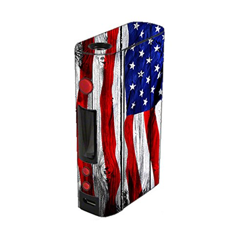 Skin Decal Vinyl Wrap for KangerTech KBox 200W Vape Mod Box / American Flag on Wood