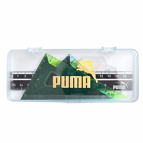 [プーマ] PUMA 定規セット ケース付 直線定規 三角定規 分度器 PM197 クツワ 直角定規 メモリが見やすい 丈夫 かっこいい